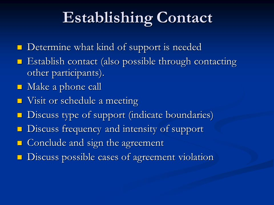 Establishing Contact Determine what kind of support is needed Determine what kind of support is needed Establish contact (also possible through contacting other participants).