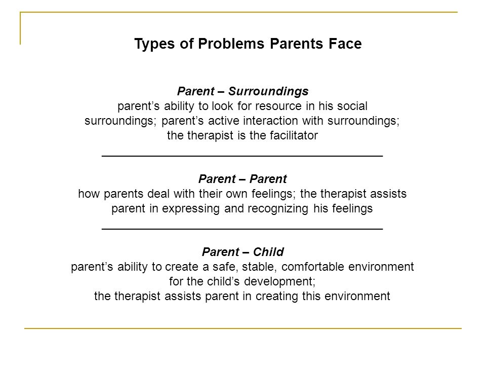 Types of Problems Parents Face Parent – Surroundings parents ability to look for resource in his social surroundings; parents active interaction with surroundings; the therapist is the facilitator __________________________________________ Parent – Parent how parents deal with their own feelings; the therapist assists parent in expressing and recognizing his feelings __________________________________________ Parent – Child parents ability to create a safe, stable, comfortable environment for the childs development; the therapist assists parent in creating this environment