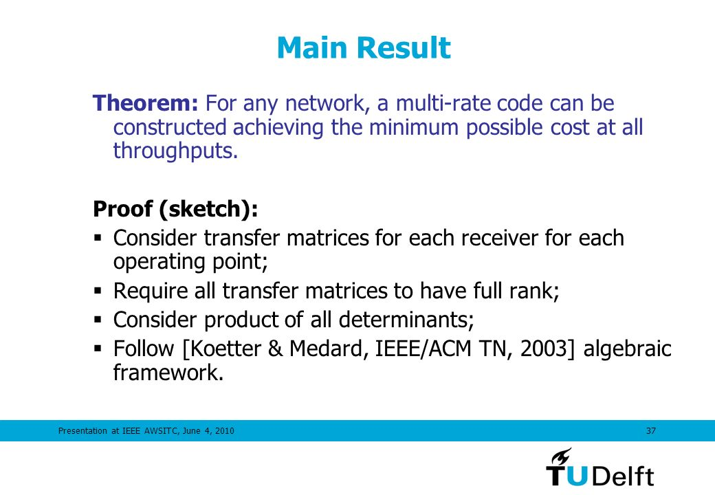 Presentation at IEEE AWSITC, June 4, 201037 Main Result Theorem: For any network, a multi-rate code can be constructed achieving the minimum possible cost at all throughputs.