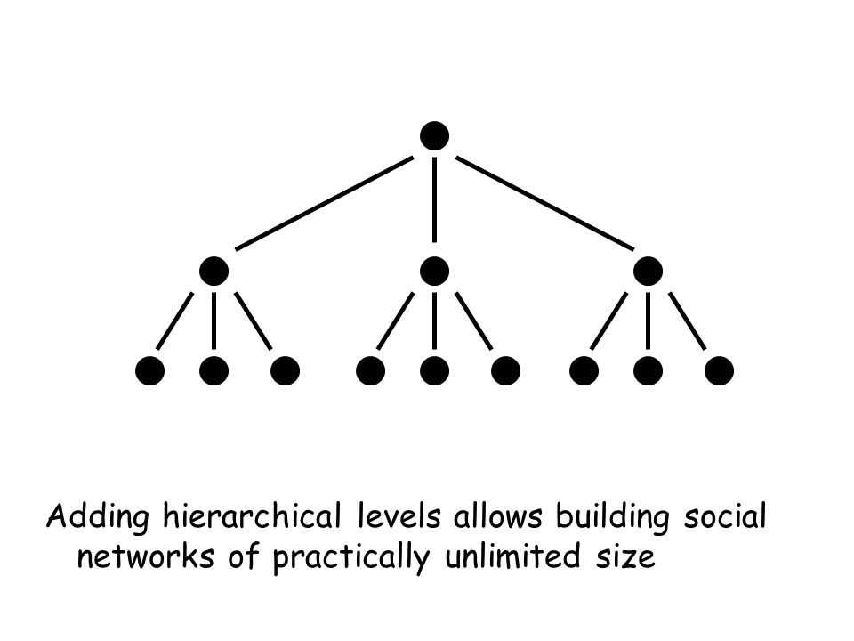 Adding hierarchical levels allows building social networks of practically unlimited size