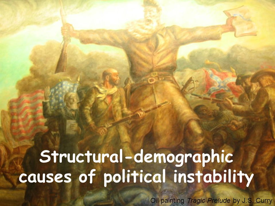 Oil painting Tragic Prelude by J.S. Curry Structural-demographic causes of political instability