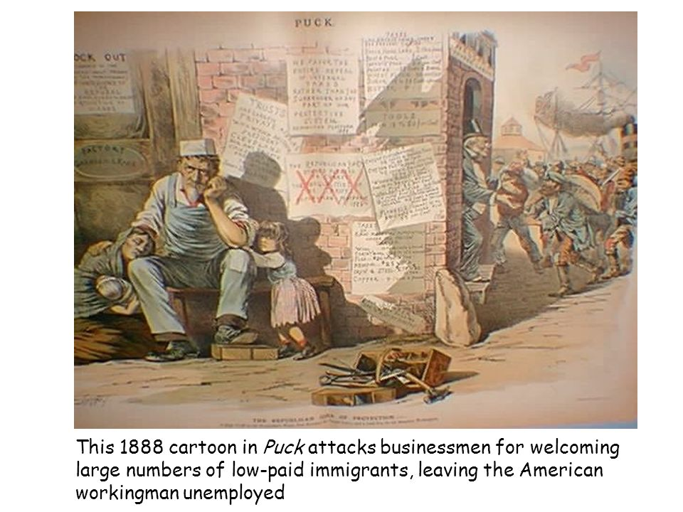 This 1888 cartoon in Puck attacks businessmen for welcoming large numbers of low-paid immigrants, leaving the American workingman unemployed