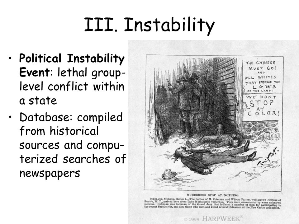 III. Instability Political Instability Event: lethal group- level conflict within a state Database: compiled from historical sources and compu- terize
