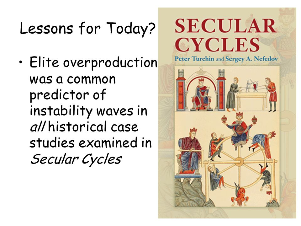 Lessons for Today? Elite overproduction was a common predictor of instability waves in all historical case studies examined in Secular Cycles
