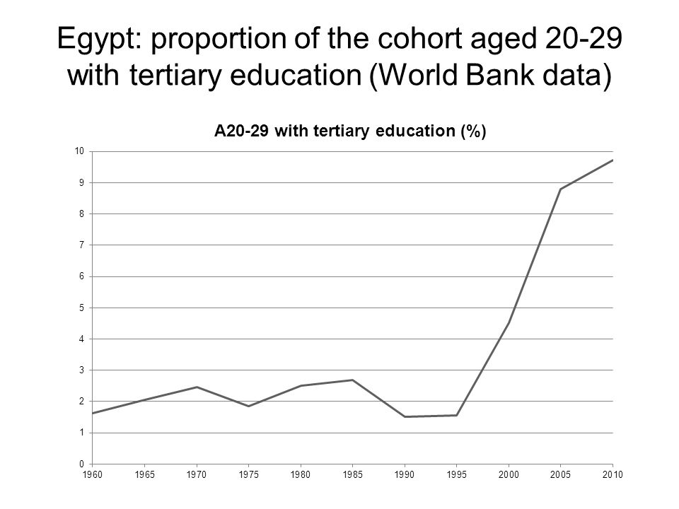 Egypt: proportion of the cohort aged 20-29 with tertiary education (World Bank data)