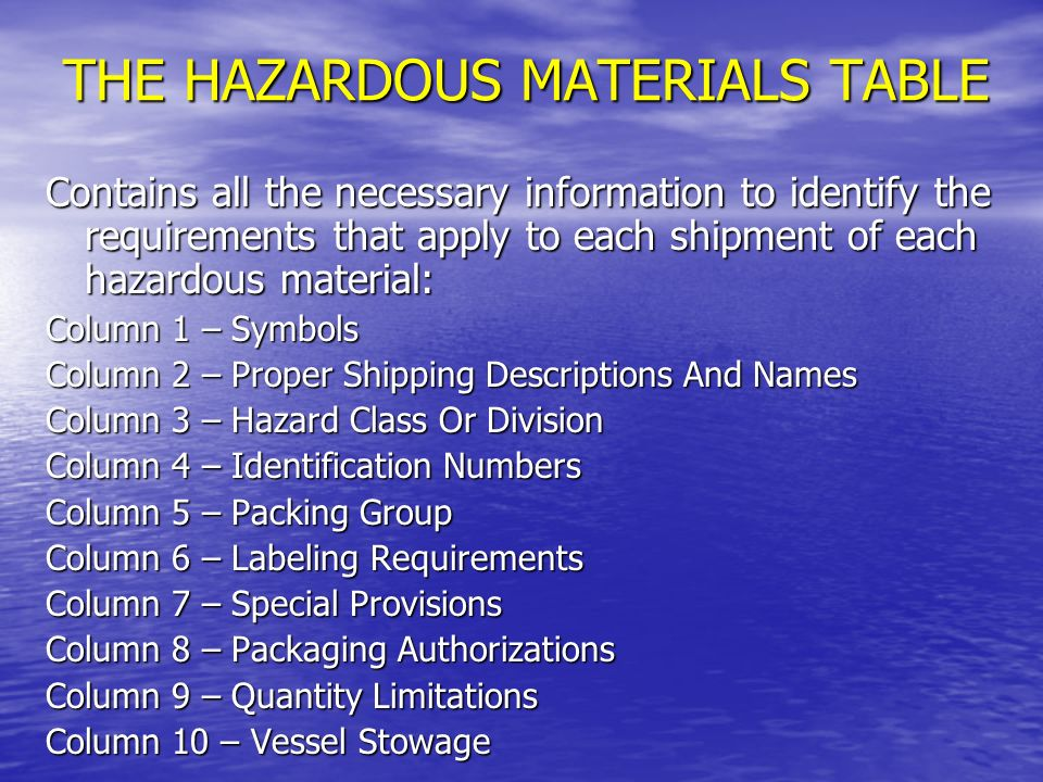THE HAZARDOUS MATERIALS TABLE WHO USES IT.