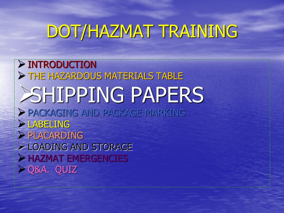 SHIPPING PAPERS Properly completed shipping papers must accompany every shipment of hazardous materials Properly completed shipping papers must accompany every shipment of hazardous materials Whenever a hazardous material is transported, its description must appear on the shipping paper.
