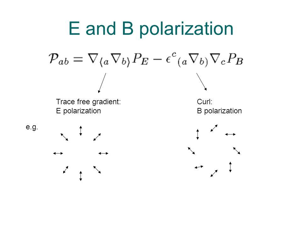 E and B polarization Trace free gradient: E polarization Curl: B polarization e.g.