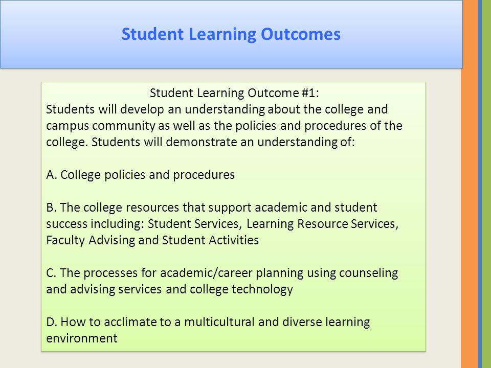 Student Learning Outcomes Student Learning Outcome #1: Students will develop an understanding about the college and campus community as well as the po