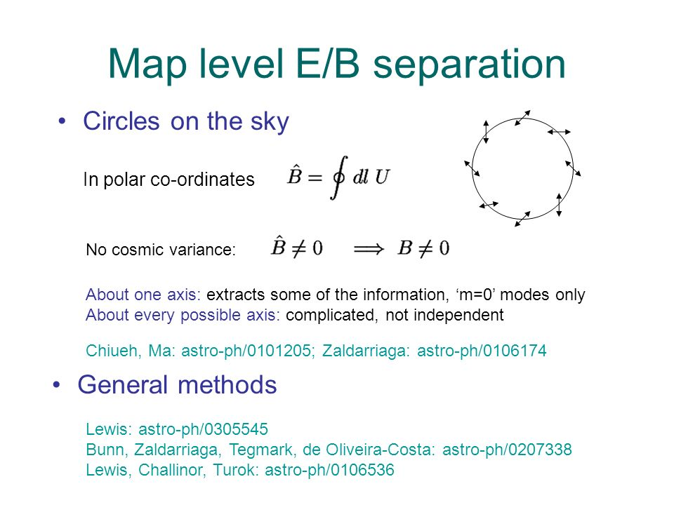 Map level E/B separation Circles on the sky In polar co-ordinates Lewis: astro-ph/0305545 Bunn, Zaldarriaga, Tegmark, de Oliveira-Costa: astro-ph/0207338 Lewis, Challinor, Turok: astro-ph/0106536 General methods No cosmic variance: Chiueh, Ma: astro-ph/0101205; Zaldarriaga: astro-ph/0106174 About one axis: extracts some of the information, m=0 modes only About every possible axis: complicated, not independent