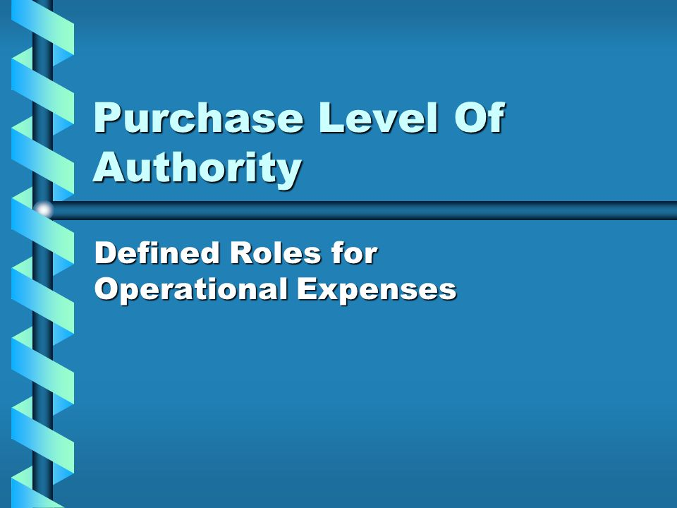 Purchase Level Of Authority Defined Roles for Operational Expenses