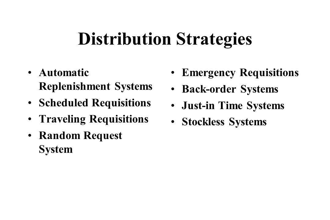 Distribution Strategies Automatic Replenishment Systems Scheduled Requisitions Traveling Requisitions Random Request System Emergency Requisitions Bac