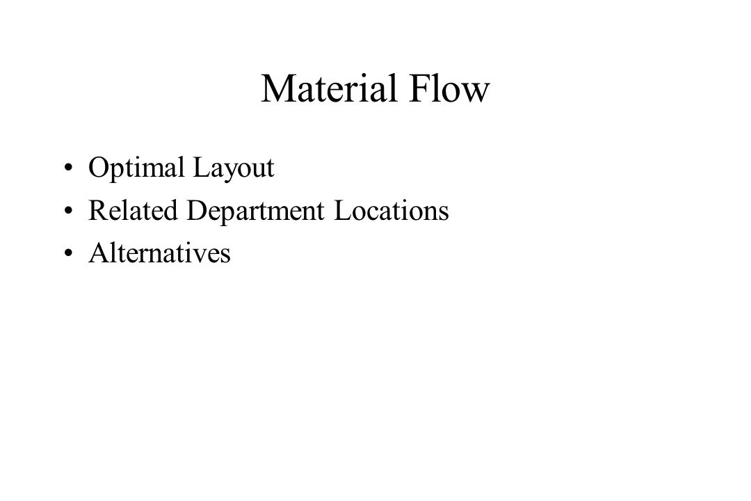 Material Flow Optimal Layout Related Department Locations Alternatives