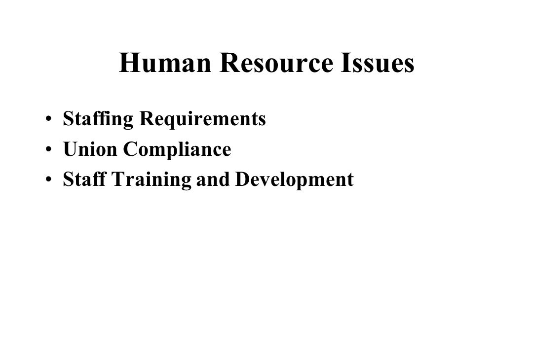 Human Resource Issues Staffing Requirements Union Compliance Staff Training and Development
