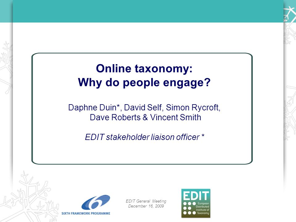Overview Online taxonomy and why people engage.