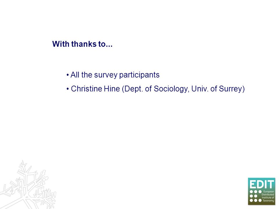 With thanks to... All the survey participants Christine Hine (Dept. of Sociology, Univ. of Surrey)
