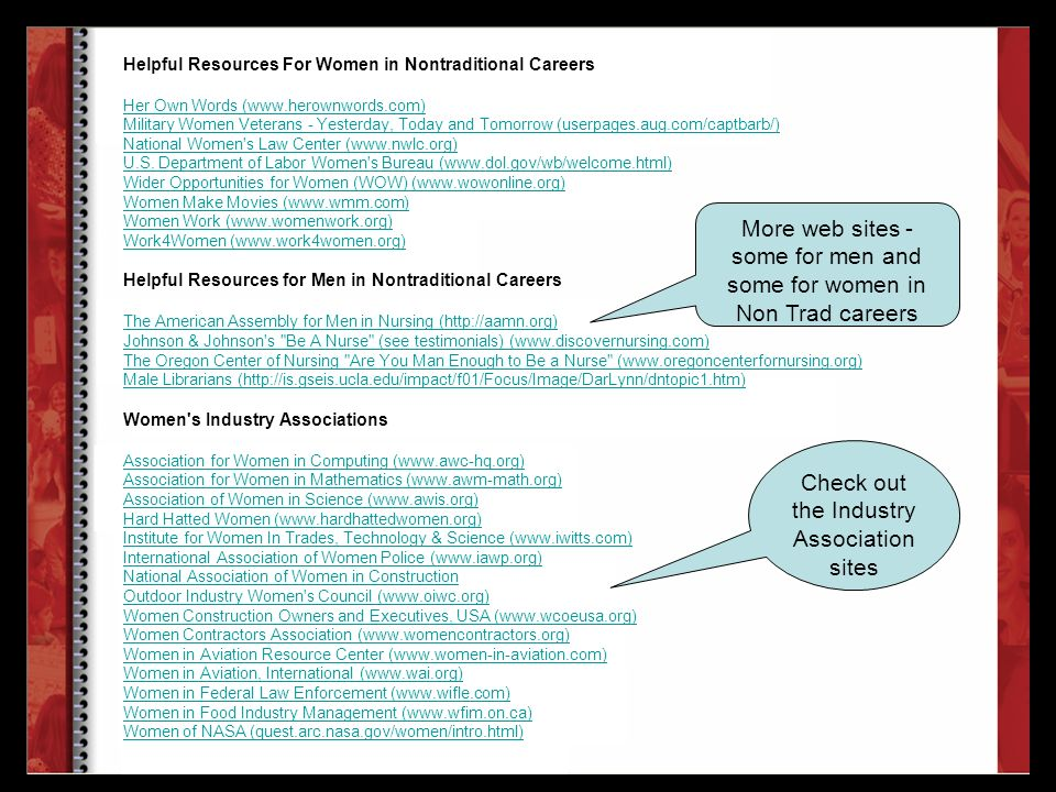 More web sites - some for men and some for women in Non Trad careers Check out the Industry Association sites Helpful Resources For Women in Nontradit