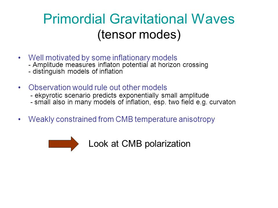 E and B polarization E polarization from scalar, vector and tensor modes B polarization only from vector and tensor modes B is smoking gun for primordial vector and tensor modes