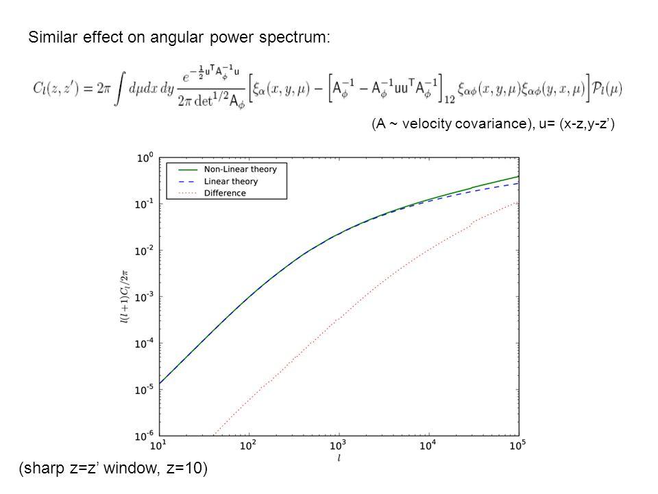 Similar effect on angular power spectrum: (sharp z=z window, z=10) (A ~ velocity covariance), u= (x-z,y-z)