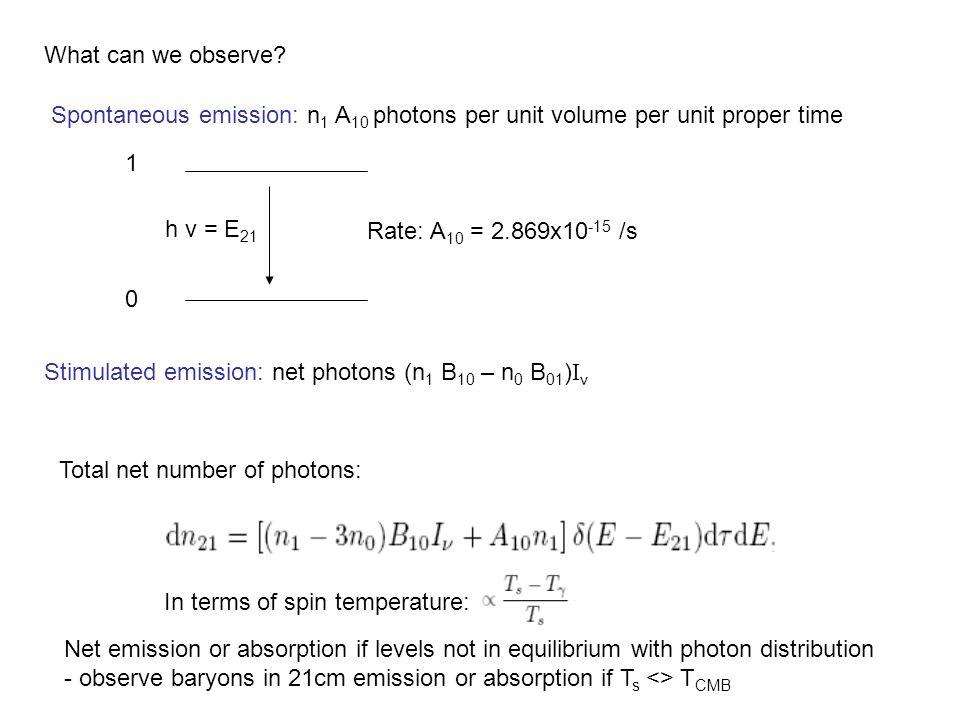 Spontaneous emission: n 1 A 10 photons per unit volume per unit proper time Rate: A 10 = 2.869x10 -15 /s Stimulated emission: net photons (n 1 B 10 –