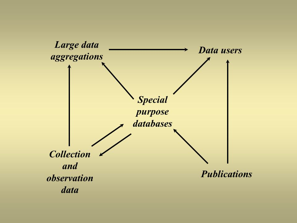 Large data aggregations Data users Special purpose databases Collection and observation data Publications