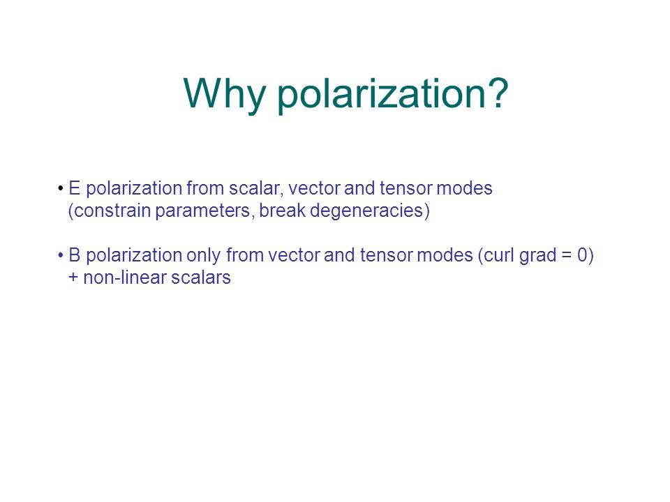 Why polarization? E polarization from scalar, vector and tensor modes (constrain parameters, break degeneracies) B polarization only from vector and t