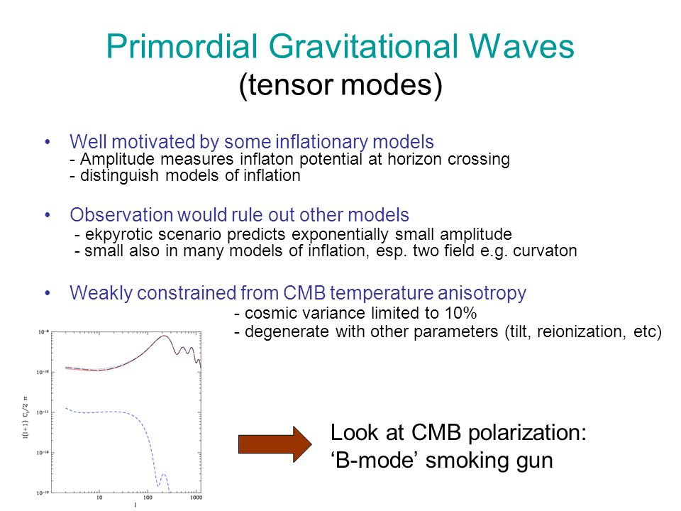 Primordial Gravitational Waves (tensor modes) Well motivated by some inflationary models - Amplitude measures inflaton potential at horizon crossing -
