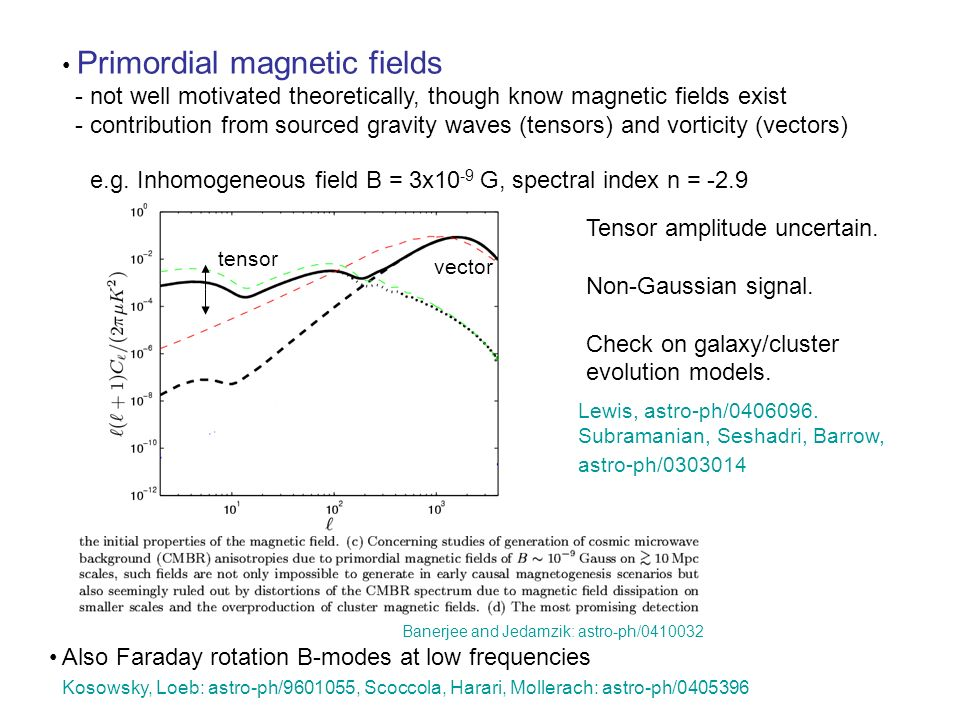 Primordial magnetic fields - not well motivated theoretically, though know magnetic fields exist - contribution from sourced gravity waves (tensors) and vorticity (vectors) e.g.