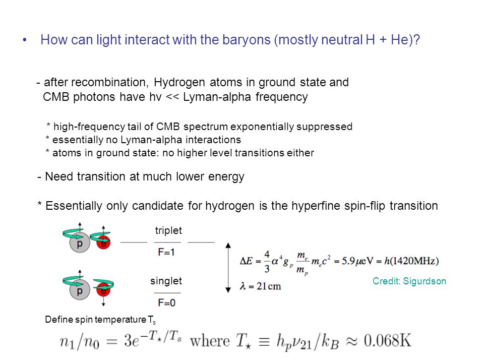 How can light interact with the baryons (mostly neutral H + He)? - after recombination, Hydrogen atoms in ground state and CMB photons have hν << Lyma