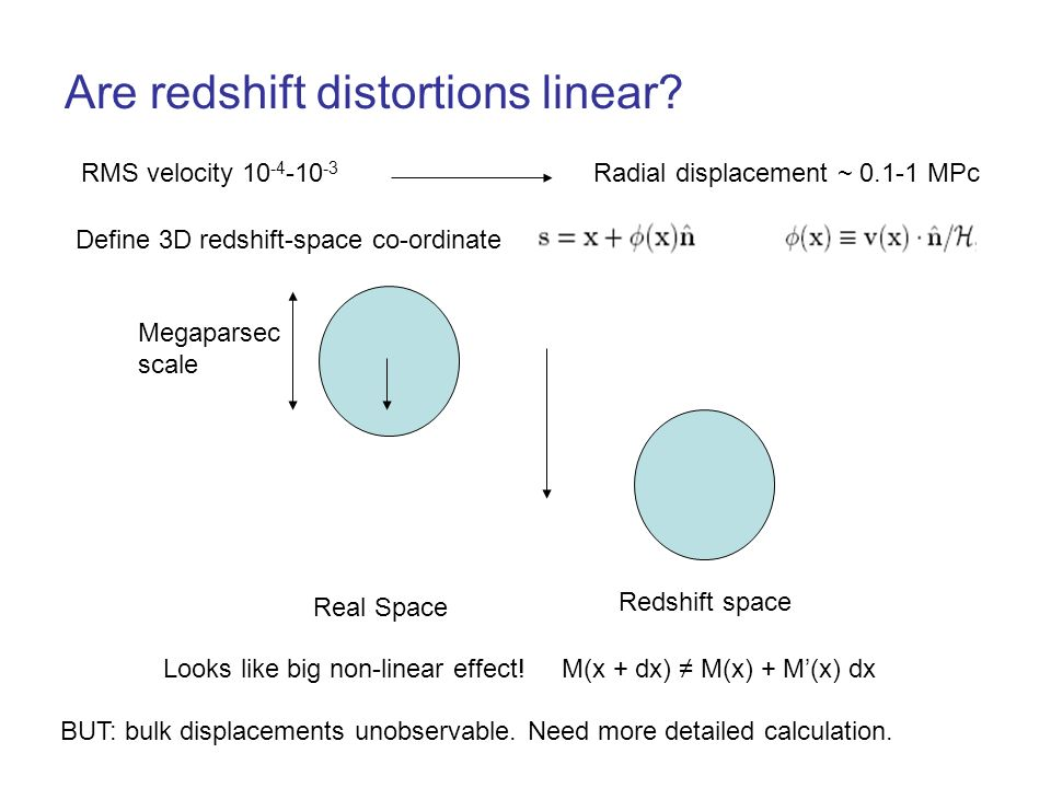 Are redshift distortions linear? RMS velocity 10 -4 -10 -3 Radial displacement ~ 0.1-1 MPc Megaparsec scale Looks like big non-linear effect! Real Spa