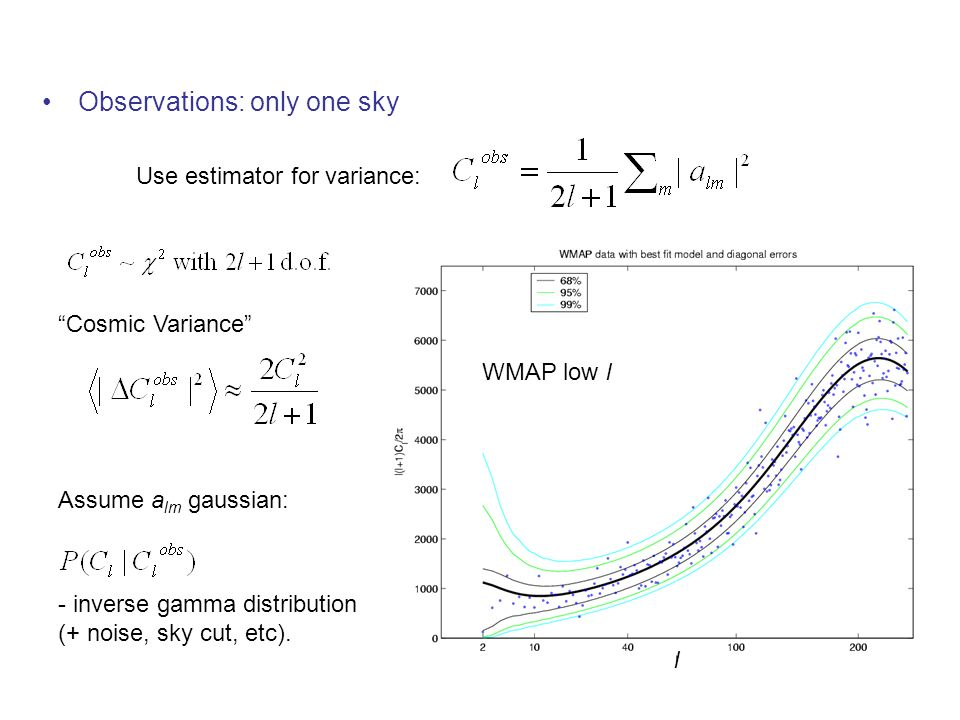 Observations: only one sky Assume a lm gaussian: Cosmic Variance Use estimator for variance: - inverse gamma distribution (+ noise, sky cut, etc). WMA