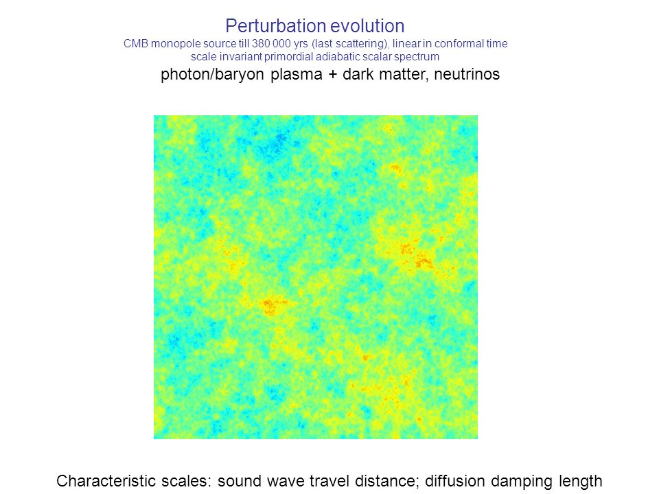 Perturbation evolution CMB monopole source till 380 000 yrs (last scattering), linear in conformal time scale invariant primordial adiabatic scalar spectrum photon/baryon plasma + dark matter, neutrinos Characteristic scales: sound wave travel distance; diffusion damping length