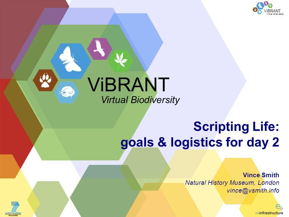 Virtual Biodiversity ViBRANT Scripting Life: goals & logistics for day 2 Vince Smith Natural History Museum, London vince@vsmith.info ViBRANT Virtual Biodiversity