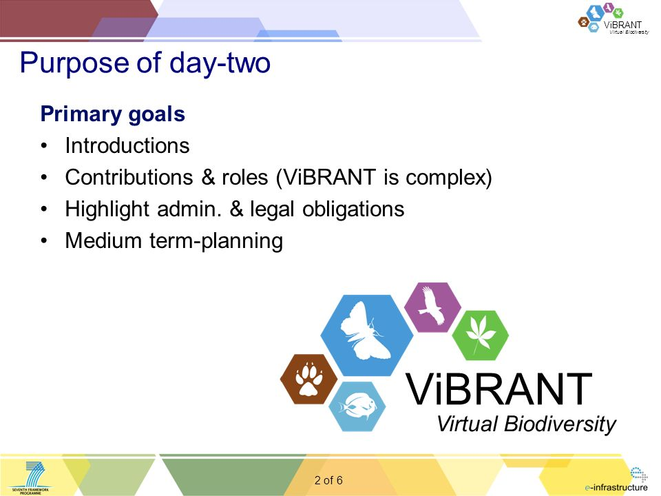 ViBRANT 2 of Purpose of day-two 6 Primary goals Introductions Contributions & roles (ViBRANT is complex) Highlight admin.