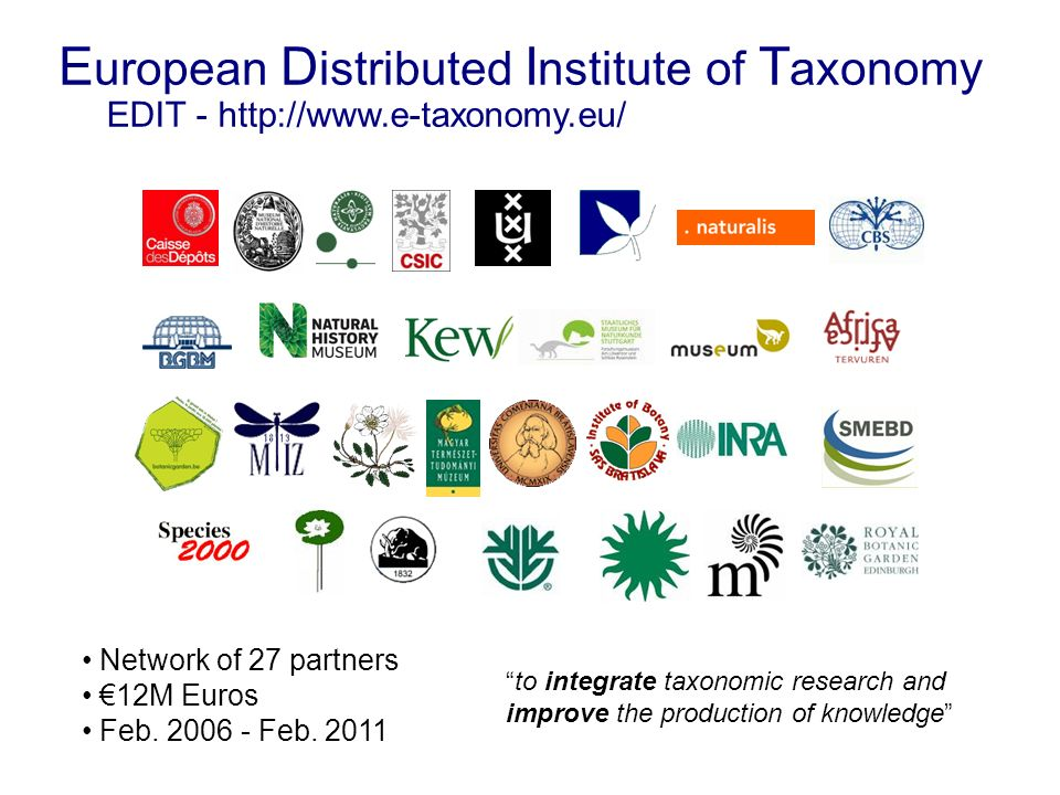 E uropean D istributed I nstitute of T axonomy EDIT - http://www.e-taxonomy.eu/ Network of 27 partners 12M Euros Feb. 2006 - Feb. 2011 to integrate ta