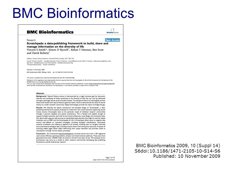BMC Bioinformatics BMC Bioinformatics 2009, 10 (Suppl 14) S6doi:10.1186/1471-2105-10-S14-S6 Published: 10 November 2009