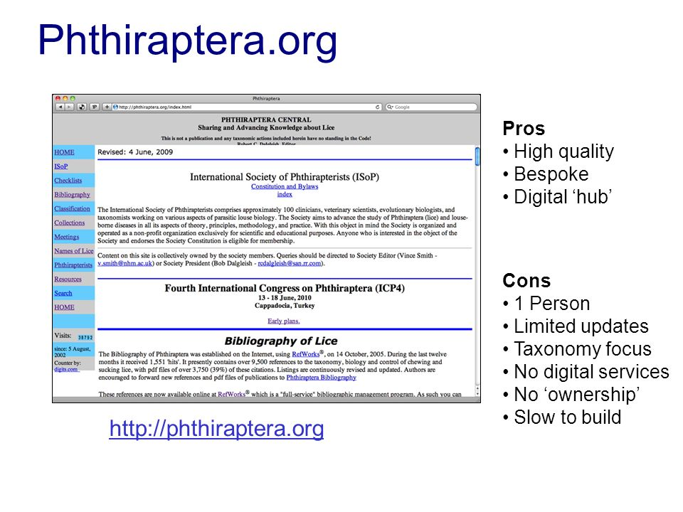 Phthiraptera.org Pros High quality Bespoke Digital hub Cons 1 Person Limited updates Taxonomy focus No digital services No ownership Slow to build htt