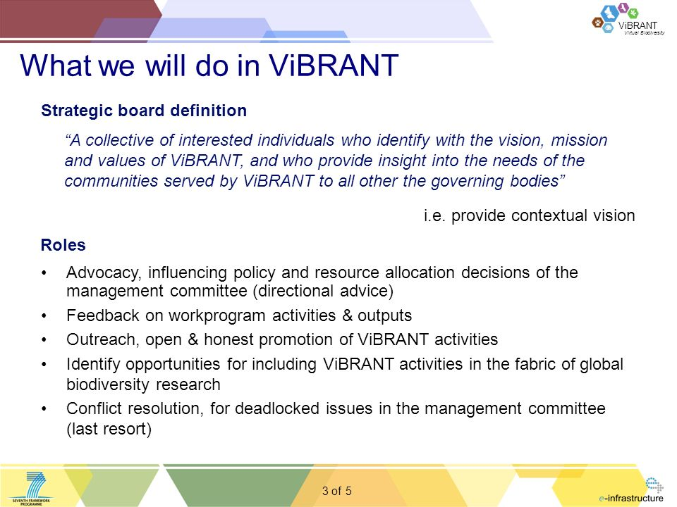 Virtual Biodiversity ViBRANT 3 of What we will do in ViBRANT Strategic board definition A collective of interested individuals who identify with the vision, mission and values of ViBRANT, and who provide insight into the needs of the communities served by ViBRANT to all other the governing bodies i.e.