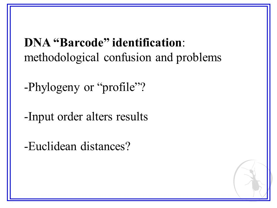 DNA Barcode identification: methodological confusion and problems -Phylogeny or profile.