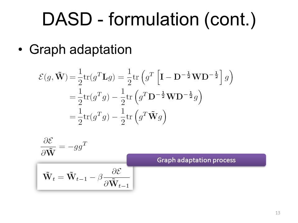 DASD - formulation (cont.) Graph adaptation Graph adaptation process 13