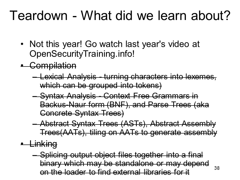 Teardown - What did we learn about.