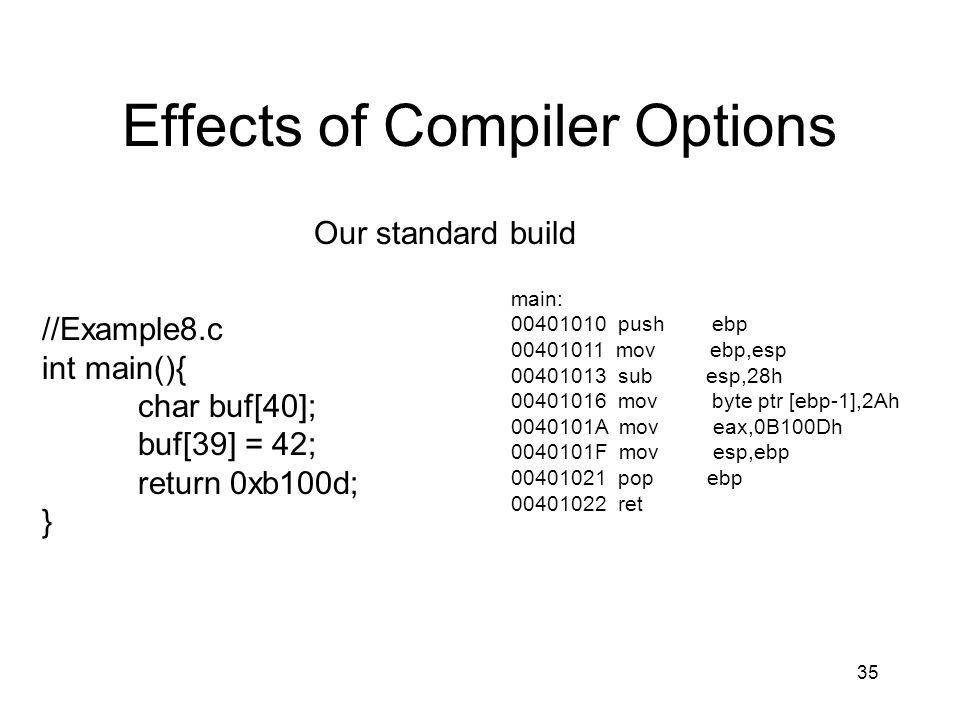 35 Effects of Compiler Options main: 00401010 push ebp 00401011 mov ebp,esp 00401013 sub esp,28h 00401016 mov byte ptr [ebp-1],2Ah 0040101A mov eax,0B
