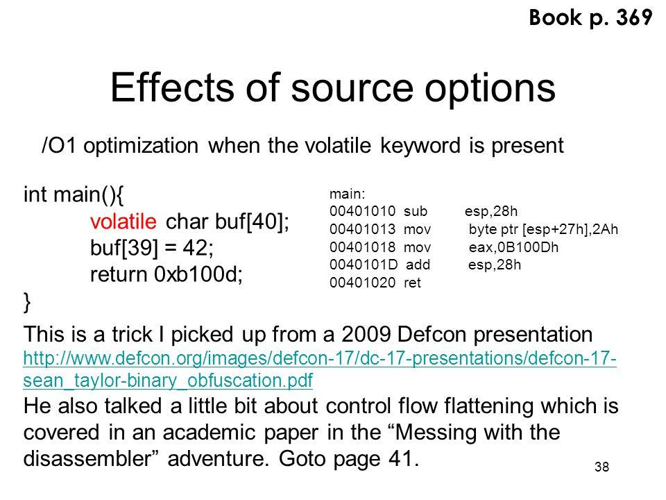 38 Effects of source options main: 00401010 sub esp,28h 00401013 mov byte ptr [esp+27h],2Ah 00401018 mov eax,0B100Dh 0040101D add esp,28h 00401020 ret