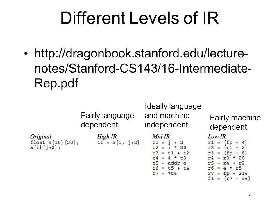 Different Levels of IR http://dragonbook.stanford.edu/lecture- notes/Stanford-CS143/16-Intermediate- Rep.pdf 41 Fairly language dependent Ideally language and machine independent Fairly machine dependent