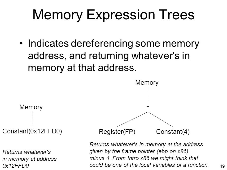 Memory Expression Trees Indicates dereferencing some memory address, and returning whatever s in memory at that address.
