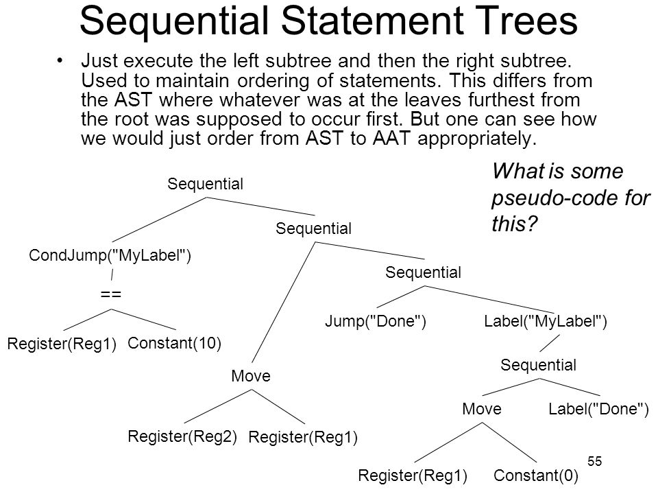 Sequential Statement Trees Just execute the left subtree and then the right subtree. Used to maintain ordering of statements. This differs from the AS