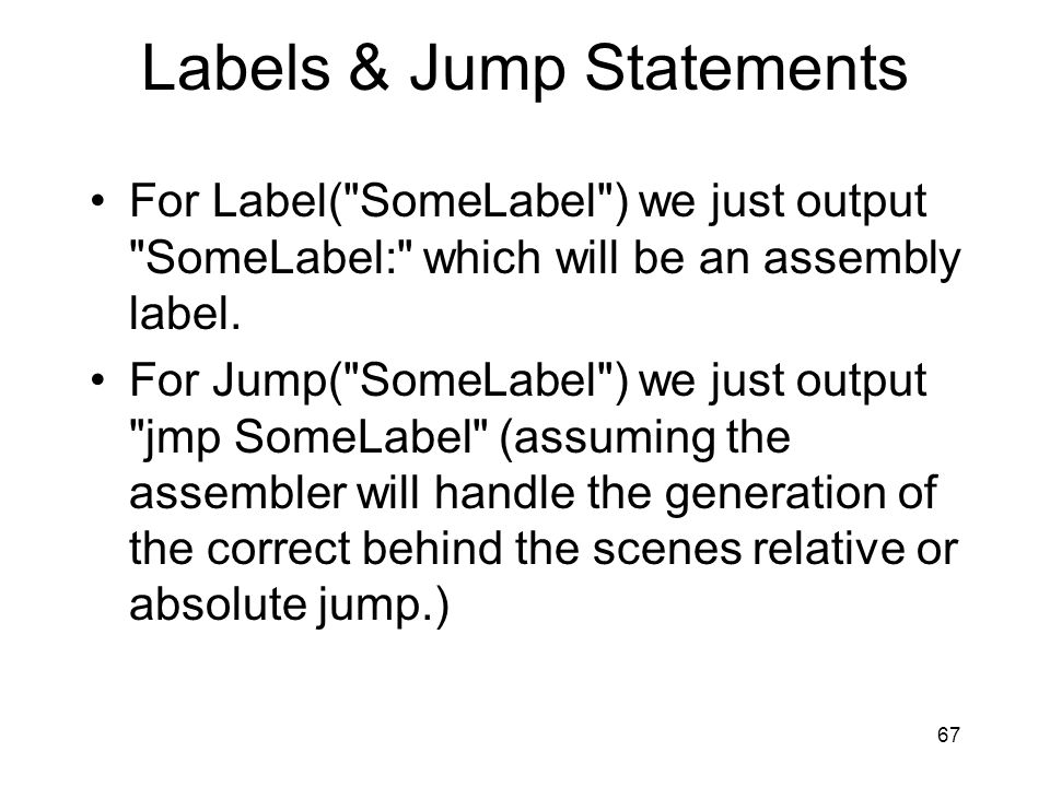 Labels & Jump Statements For Label(