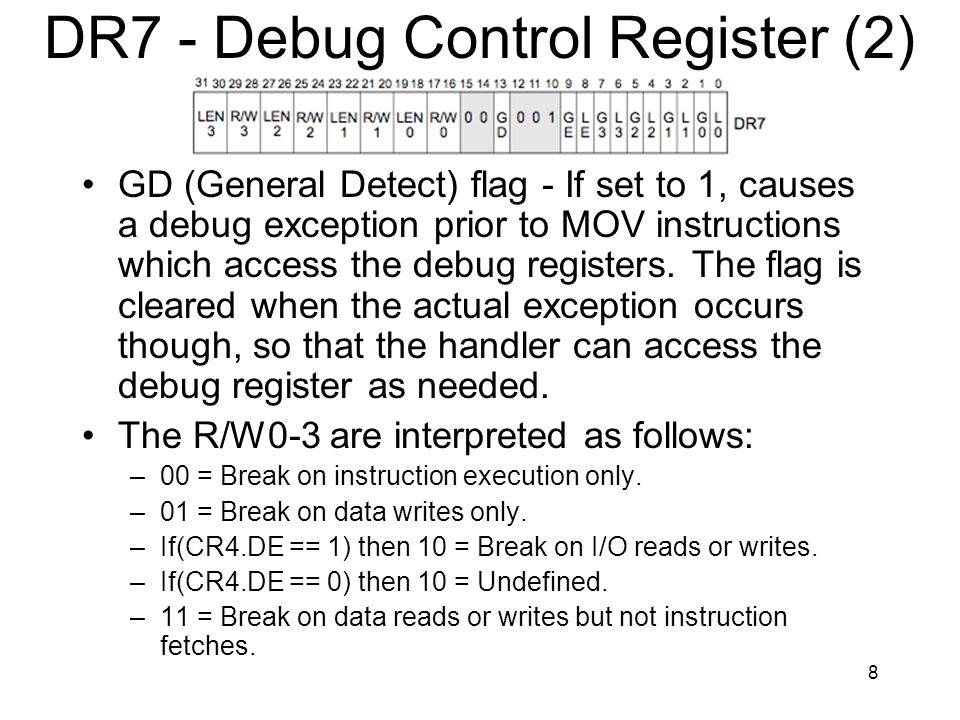 8 DR7 - Debug Control Register (2) GD (General Detect) flag - If set to 1, causes a debug exception prior to MOV instructions which access the debug registers.