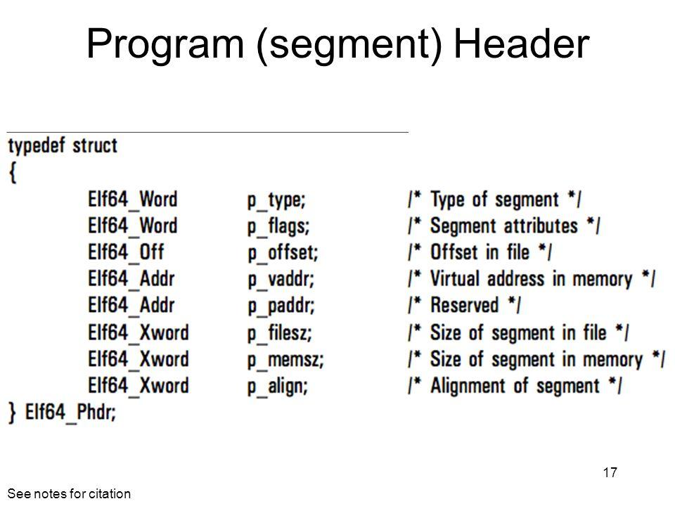 Program (segment) Header 17 See notes for citation