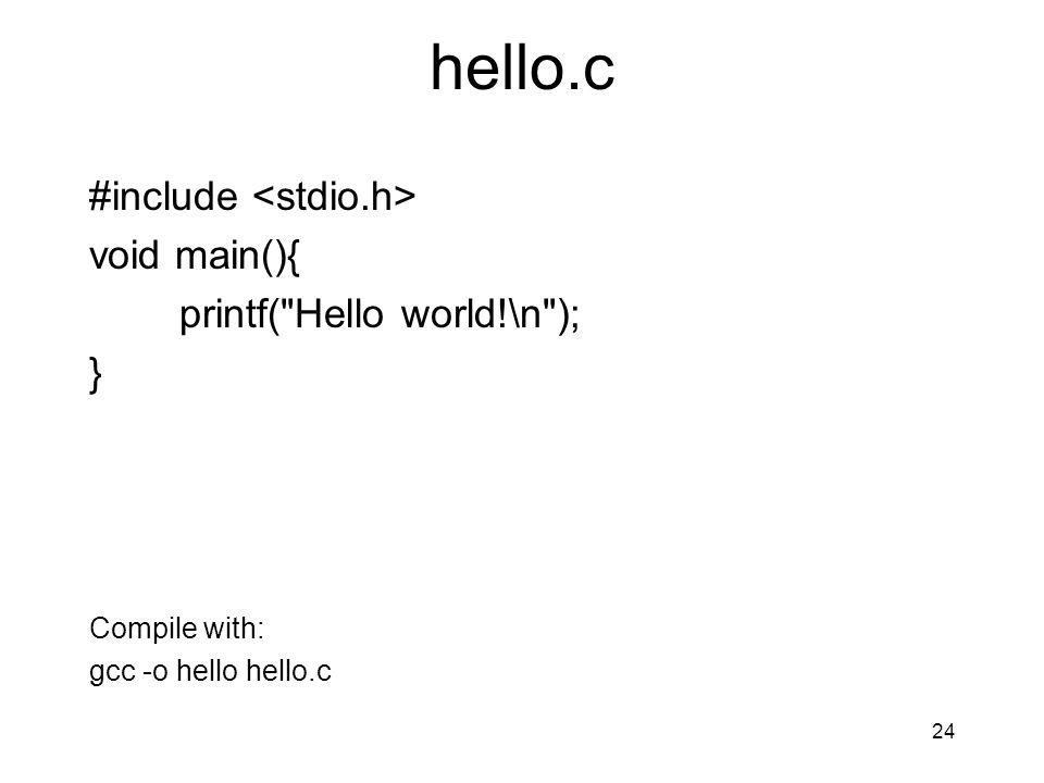 hello.c #include void main(){ printf(